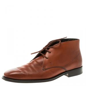 Tod's Copper Leather Lace Up Oxfords Size 41