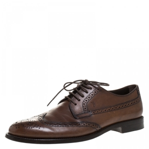 Tod's Brown Leather Brogue Lace Up Derby Size 41.5