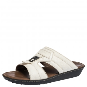 Tod's White Leather And Ostrich Embossed Trim Platform Slide Sandals Size 44.5