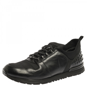 Tod's Black Leather and Nylon Lace Sneakers Size 47