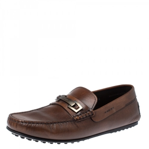 Tod's Brown Leather Macro Clamp Loafers Size 41A