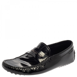 Tod's Black Patent Leather Penny Slip On Loafers Size 43