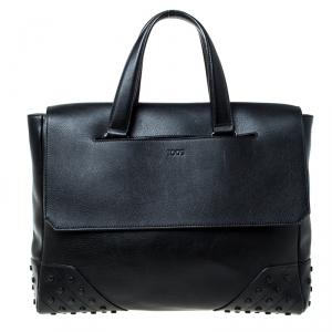 Tod's Black Leather Envelope Bag