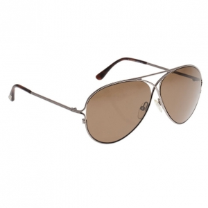 Tom Ford Silver and Brown Peter Aviators