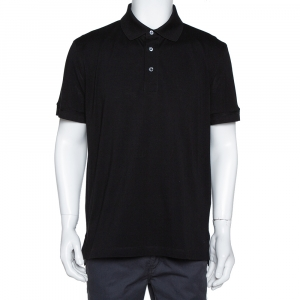 Tom Ford Black Cotton Pique Short Sleeve Polo T-Shirt 3XL