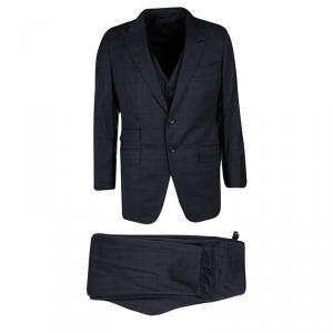 Tom Ford Navy Blue Checked Wool Three Piece Tailored Suit L