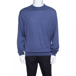 Tom Ford Pastel Blue Cashmere and Silk Sweater 4XL