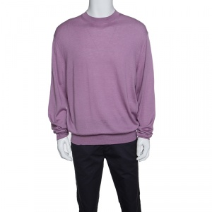 Tom Ford Purple Cashmere and Silk Crew Neck Sweater 4XL