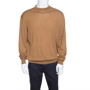 Tom Ford Camel Brown Cashmere and Silk Knit Crew Neck Sweater 4XL