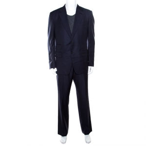 Tom Ford Navy Blue Striped Wool Tailored Suit XL