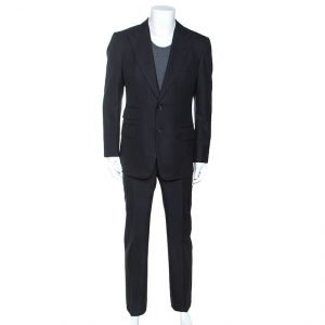 Tom Ford Black Wool Twill Tailored Suit L