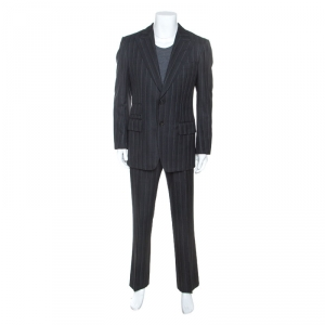 Tom Ford Charcoal Grey Chalkstriped Wool Suit L