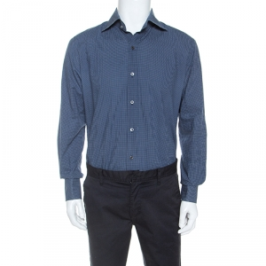 Tom Ford Navy Blue Polka Dotted Cotton Button Front Shirt XXL