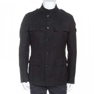 Tom Ford Black Cotton Button Front Military Jacket XXL