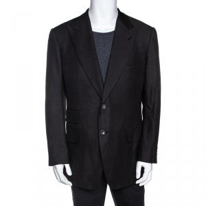 Tom Ford Dark Grey Silk and Wool Knit Regular Fit Blazer XXL