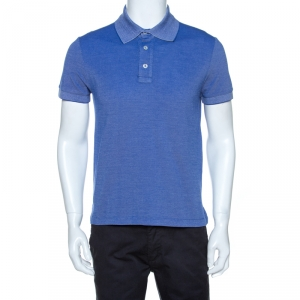 Tom Ford Blue Cotton Pique Polo T Shirt L