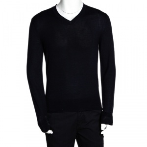 Tom Ford Navy Blue Cashmere Silk V Neck Sweater M