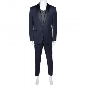 Tom Ford Navy Blue Mohair Wool Blend Tuxedo Suit XXL