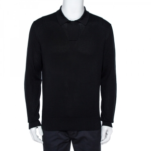 Tom Ford Black Cotton Silk Blend Polo Sweater XL