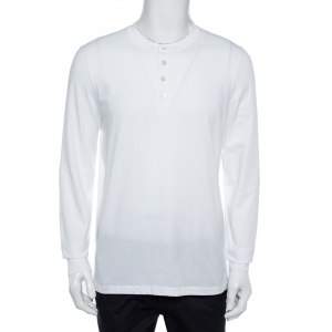 Tom Ford White Cotton Long Sleeve Crew Neck T-Shirt XL