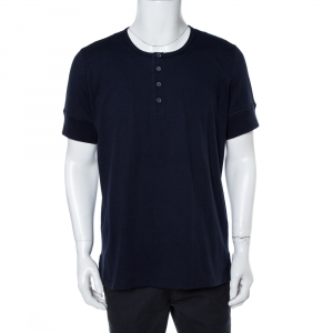 Tom Ford  Navy Blue Cotton Marl Jersey Henley T-Shirt 3XL