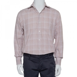Tom Ford Beige Checkered Cotton Button Front Shirt M