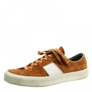 Tom Ford Tan Brown Suede And Leather Cambridge Lace Up Sneakers Size 42