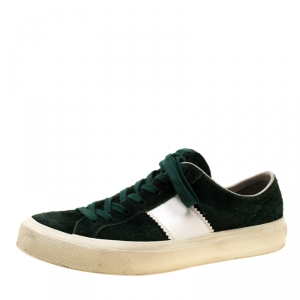 Tom Ford Green Suede Cambridge Lace Up Sneakers Size 42