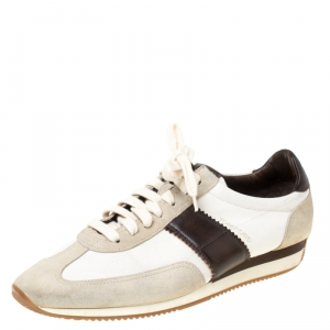 Tom Ford Tricolor Canvas And Suede Oxford Sneakers Size 43
