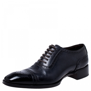 Tom Ford Black/Blue Brogue Leather Lace Up Oxfords Size 44