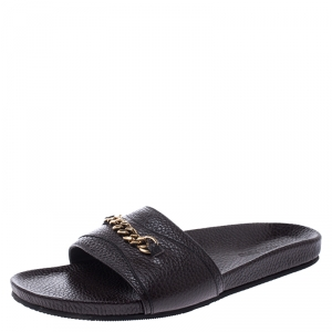 Tom Ford Brown Textured Leather Churchill Chain Slides Size 41