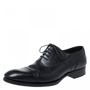 Tom Ford Black Leather Lace Up Oxford Size 44.5