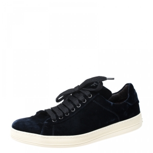 Tom Ford Dark Blue Velvet Russell Low Top Sneakers Size 42.5