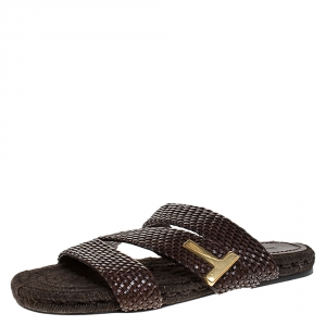 Tom Ford Brown Braided Leather Grafton Slide Espadrille Sandals Size 42