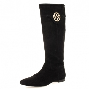 Tory Burch Black Suede Irene Knee Length Boots Size 39.5