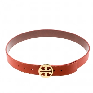 Tory Burch Orange Leather L Noe Reversible Logo Belt 115 CM