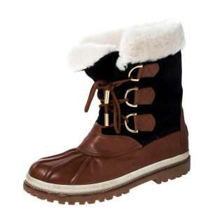Tory Burch Brown Leather Shearling Lined High Top Boots Size 44