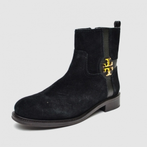 Tory Burch Black Suede 'Alaina' Logo Ankle Boots Size 38