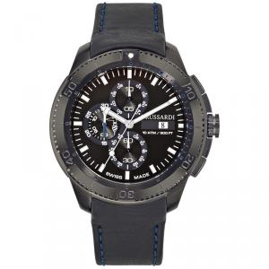 Trussardi Black Ion-Plated Stainless Steel Caccia Men's Wristwatch 46MM