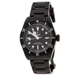 Tudor Black PVD Coated Stainless Steel Heritage Black Bay Dark 79230DK Men's Wristwatch 41 mm