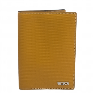 Tumi Mustard Leather Passport Cover