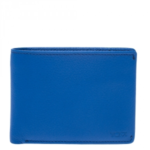 Tumi Electric Blue Leather Bifold Wallet