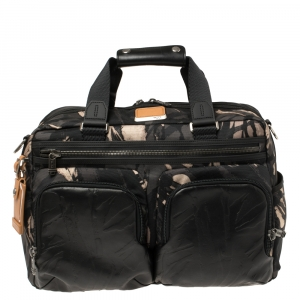 TUMI Black Camouflage Fabric and Leather Alpha Bravo Hunter Satchel