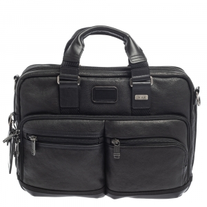 Tumi Black Leather Bingham Expandable Briefcase