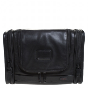 Tumi Black Leather Alpha II Hanging Travel Clutch