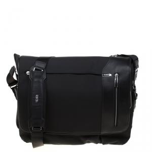 Tumi Black Nylon and Leather Arrive Galeao Messenger Bag