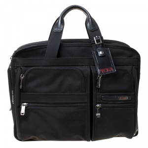 Tumi Black Nylon Alpha T-Pass Expandable Laptop Briefcase