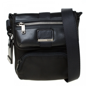 Tumi Black Nylon and Leather Alpha Bravo Braton Crossbody Bag