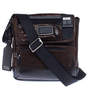 TUMI Brown/Black Leather Alpha Bravo Barstow Messenger Bag