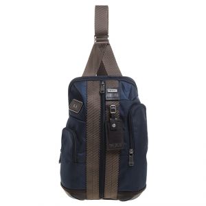 Tumi Blue/Brown Nylon Saratoga Sling Backpack